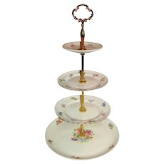 Custom Four Tier Cake Stand Made With Vintage Plates