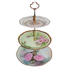 Custom Three Tier Cake Stand Made With Antique Hand Painted Plates