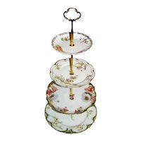 Custom Four Tier Cake Stand Made With Antique Limoges Plates