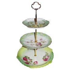 Custom Three Tier Cake Stand Made With Hand Painted Plates