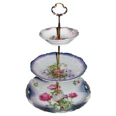 Custom Three Tier Cake Stand Made With Antique Lusterware Plates