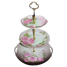 Custom Three Tier Cake Stand Made With Vintage Hand Painted Plates