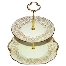 Custom Two Tier Cake Stand Made With Vintage Plates
