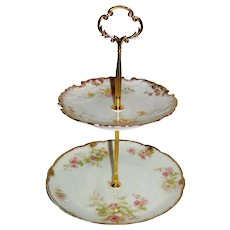 Custom Two Tier Cake Stand Made With Antique Limoges Plates