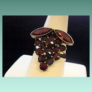 "Ring of ""Grapes"" in Czech Garnets"