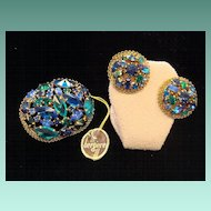 Austrian Crystal Pin and Earrings Set