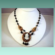 Delightfully Old Stone Cameo and Beaded Necklace, c1850