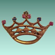 """Fit for a Queen"" Ruby, Emerald, and Sapphire Pin"