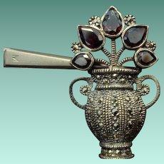 Adorbs! Sterling, Marcasite, and Garnet Flower Pot Brooch
