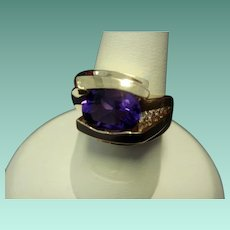 1980's Custom Fine Amethyst and Diamond Ring