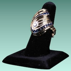 Custom Made Mod Diamond and Sapphire Ring, 14K