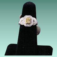 Classic Fancy Yellow and White Diamond Ring, 18K