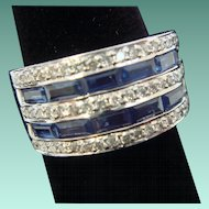 Fetching Sapphire and Diamond Dinner Ring in 14K White Gold
