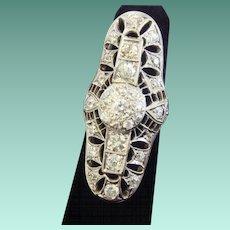 Arresting Diamond Art Deco Cocktail Ring in 18K