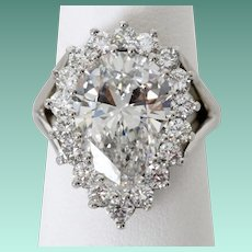 Spectacular 5.62 Carat G VVS1 Pear Shaped Diamond Ring in Platinum
