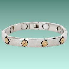 Sterling Silver and 18K Gold Unisex Bracelet