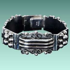 Lovely Wide Sterling Silver Bracelet