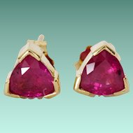 1980's Ruby Triangular Stud Earrings in 14K Gold