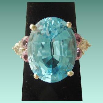 Fun Large Blue Topaz, Pink Tourmaline, and Diamond Cocktail Ring