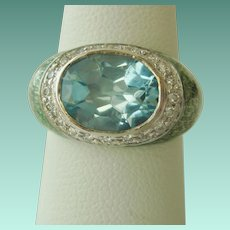 Pretty Blue Topaz, Diamond, and Enamel Ring in 18K Gold