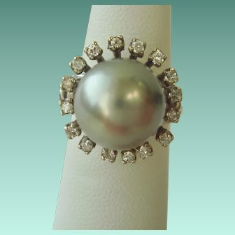 South Sea Pearl Ring with Halo of Diamonds, 14K Gold