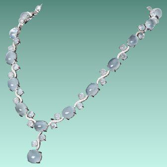 Ravishing 90 Carat Aquamarine & Diamond Necklace in 18K White Gold