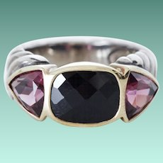 Retired David Yurman Black Onyx & Tourmaline Ring in SS & 18K
