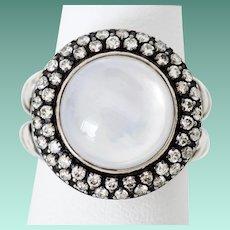 David Yurman Cable Ring SS Diamond Moonstone Cocktail Ring
