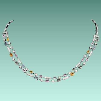 Remarkable Multi-Colored Sapphire Necklace with Diamonds in 18K