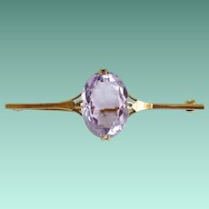 Antique 30 Carat Amethyst Brooch in 9K Gold