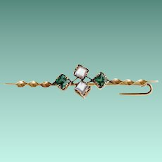 Antique Gold Filled Brooch, Emerald and Moonstone