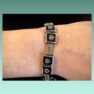 Sterling, Marcasite, and Black Onyx Heart Bracelet