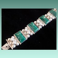 Green Onyx Sterling Silver Mexican Bracelet