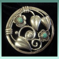 Beautiful Old Mexican Sterling Brooch, with Turquoise