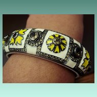 Funky Citrine and Enamel Bracelet, SS
