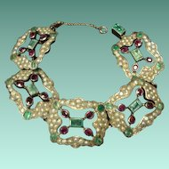 Antique Turkish Emerald, Ruby, and Seed Pearl Bracelet