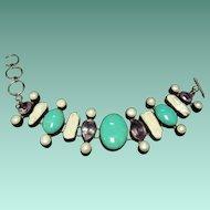 Pearl, MOP, Amethyst, & Turquoise Bracelet
