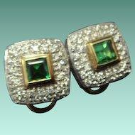 Sophisticated Tsavorite and Diamond Earrings in 14K Gold