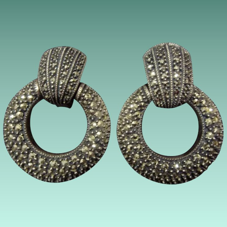 Judith Jack Sterling Silver And Marcasite Earrings