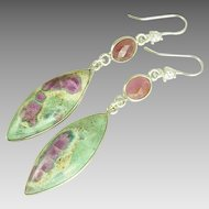 Pink Sapphires and Ruby-In-Fuchsite Sterling Silver Earrings