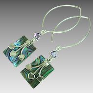 Abalone and Amethyst Sterling Silver Dangle Earrings