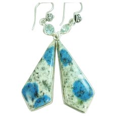 Blue Azurite and Blue Topaz Balinese Sterling Earrings