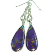 Copper Infused Purple Turquoise Sterling Silver Earrings