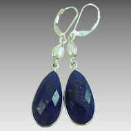Lapis Lazuli and Pearl Sterling Silver Earrings - 40% OFF
