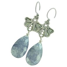 Sapphire Blue Quartz and Balinese Sterling Silver Earrings