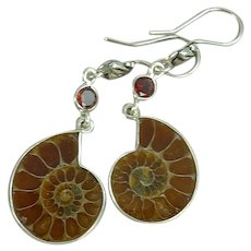 Ammonite and Garnet Sterling Silver Dangle Earrings
