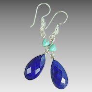 Lapis and Turquoise Sterling Silver Dangle Earrings