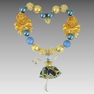 Blue Paris Doll Large Beaded Necklace