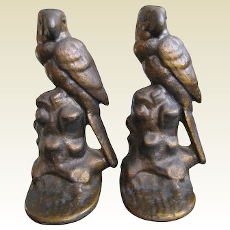 Painted Cast Iron Parrot on a Stump Bookends