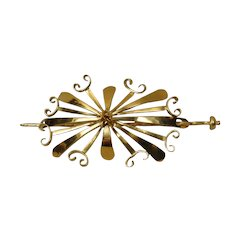 Henry Shawah 18K Hair Ornament Modernist Art Jewelry